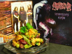 Nice gropu shot too... The band,food and album cover..  pretty combination